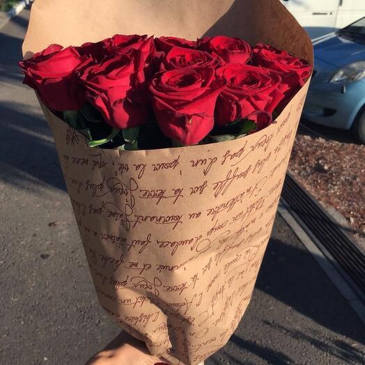 9 красных роз в Крафте