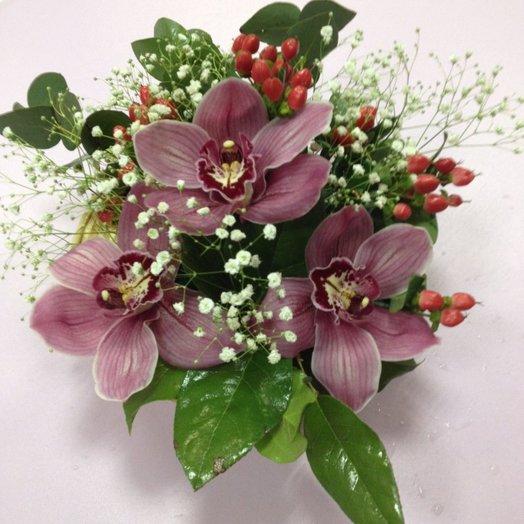 Мини композиция с орхидеями: букеты цветов на заказ Flowwow