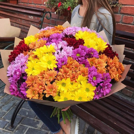 35 хризантем: букеты цветов на заказ Flowwow