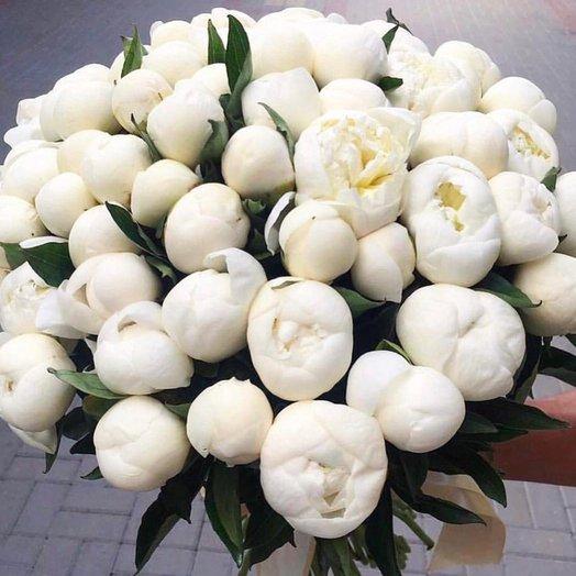 Букет из 55 белых пионов: букеты цветов на заказ Flowwow