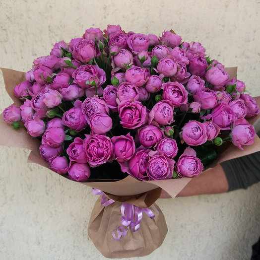 Bouquet of peony roses Bush