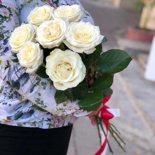 Букет из 7 белых роз 70 см: букеты цветов на заказ Flowwow