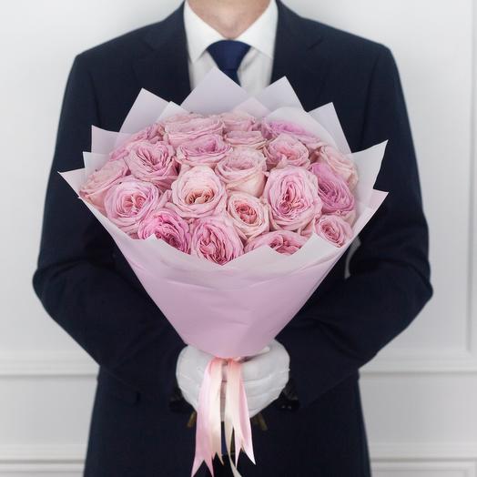 Букет из 21 ароматных эквадорских роз Pink O Hara: букеты цветов на заказ Flowwow