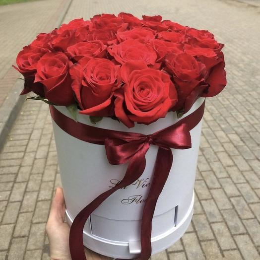 Шляпная коробка 30 роз