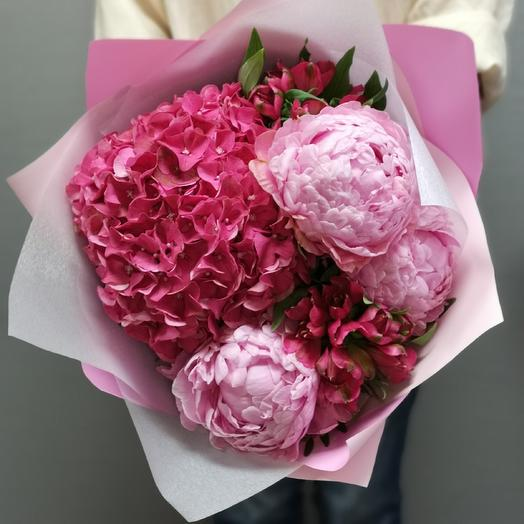 Гортензия+пион: букеты цветов на заказ Flowwow