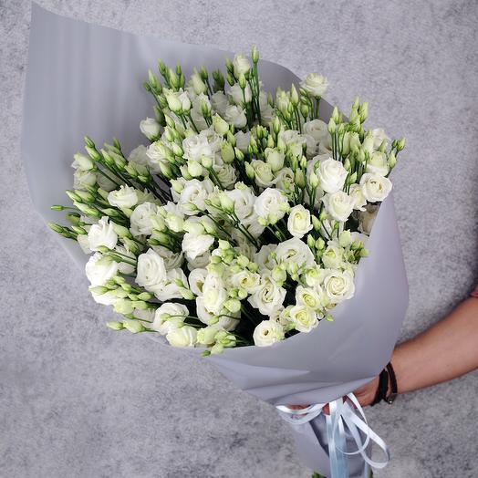 "Букет из 25 белых эустом ""Предрасветный туман"": букеты цветов на заказ Flowwow"