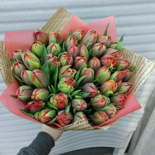 Темно красные тюльпаны 49 шт: букеты цветов на заказ Flowwow