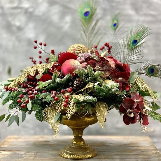 Шикарная Новогодняя композиция 2020: букеты цветов на заказ Flowwow