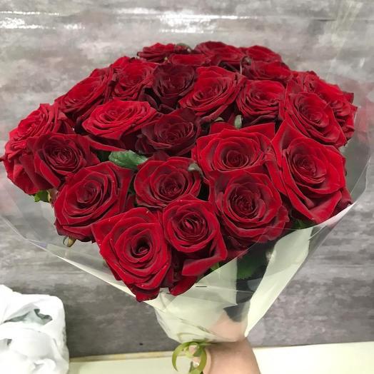 Красные розы 25 шт: букеты цветов на заказ Flowwow