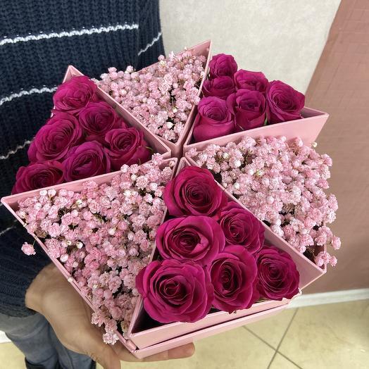 Необычная нежная композиция в стильной коробке: букеты цветов на заказ Flowwow