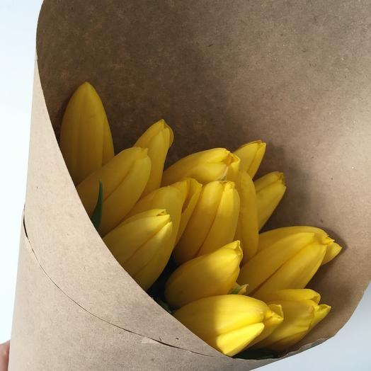Желтые тюльпаны 15 шт: букеты цветов на заказ Flowwow