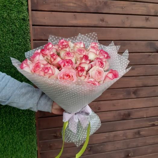 Букет из 21  нежно розовых роз