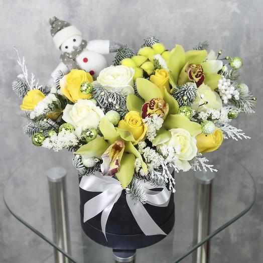 Коробка с цветами «Зимняя сказка»