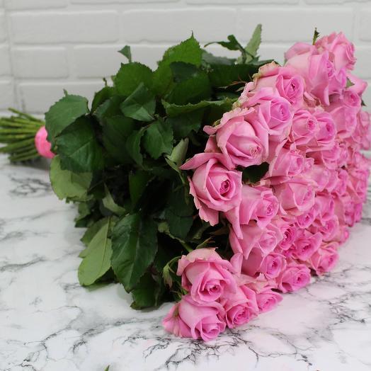 51 роза 60 см в ленте
