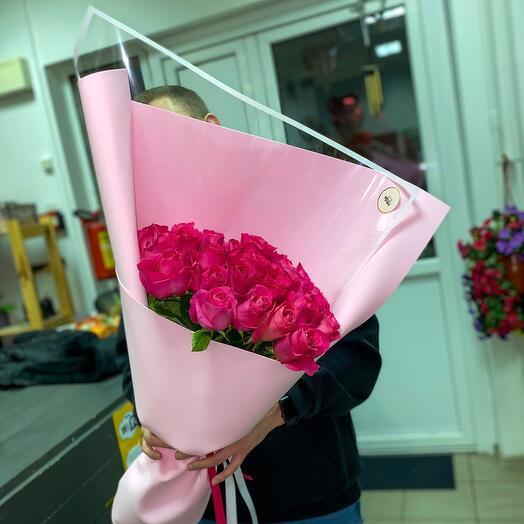 Монобукет из Роз сорта Пинк флойд🤤