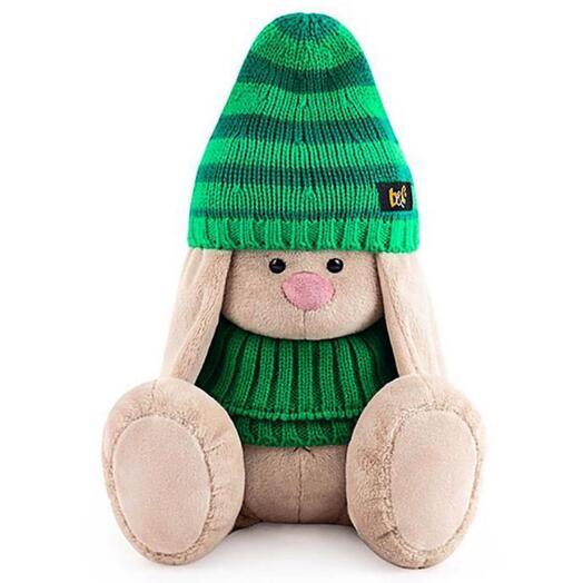 Мягкая игрушка «Зайка Ми в зеленой шапке и снуде», 18 см