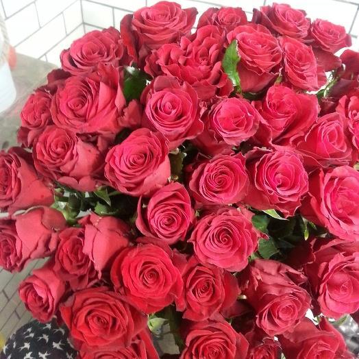 Букет из 45 розовых голландских роз 50 см: букеты цветов на заказ Flowwow