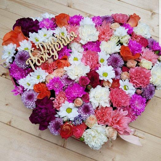 Коробочка с днем рождения: букеты цветов на заказ Flowwow