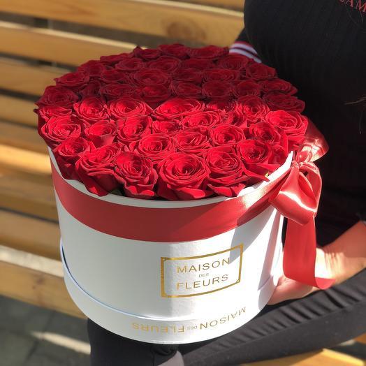 45 Красных роз в фирменной белой Коробке