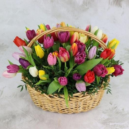 Корзина тюльпанов Весна