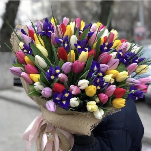 Букет из 101 тюльпана микс: букеты цветов на заказ Flowwow