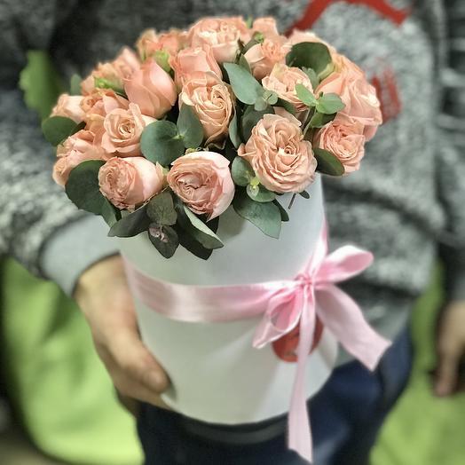 Мини коробочка пионовидных роз: букеты цветов на заказ Flowwow
