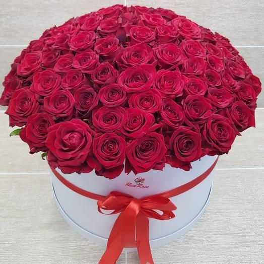 101 красная роза в шляпной коробке XL: букеты цветов на заказ Flowwow