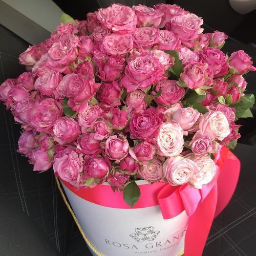 39 кустовых пионовидные роз Леди Бомбастик в шляпной коробке