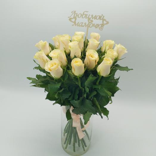 Букет из 19 кремовых роз: букеты цветов на заказ Flowwow