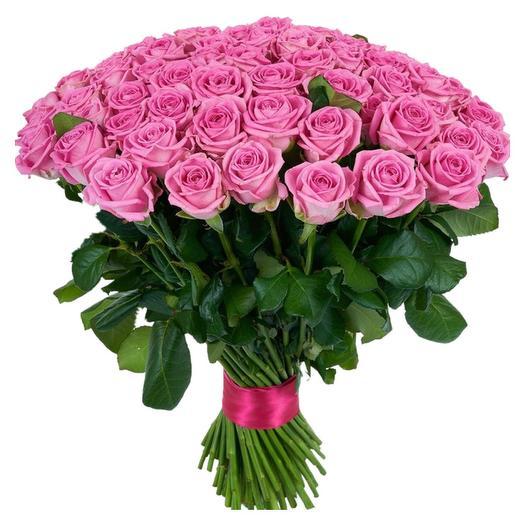 """Букет из 75 розовых роз """"Аква"""" (Россия), 60 см: букеты цветов на заказ Flowwow"""