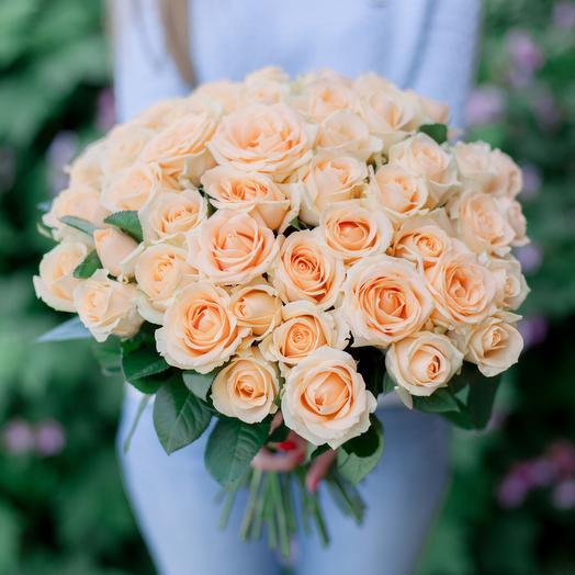 """Букет """"51 Кремовой розы"""": букеты цветов на заказ Flowwow"""