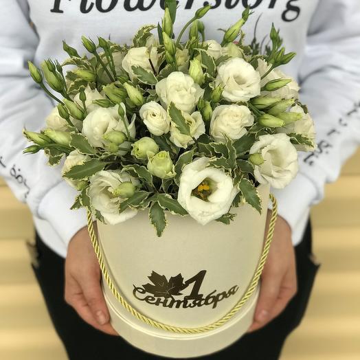 1 сентября.Коробки с цветами. Эустома с питтоспорумом. N558: букеты цветов на заказ Flowwow