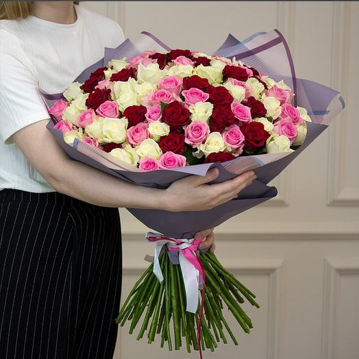 "Букет  из ""75 роз микс"": букеты цветов на заказ Flowwow"