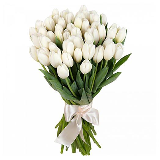 25 белых  голландских   тюльпанов: букеты цветов на заказ Flowwow