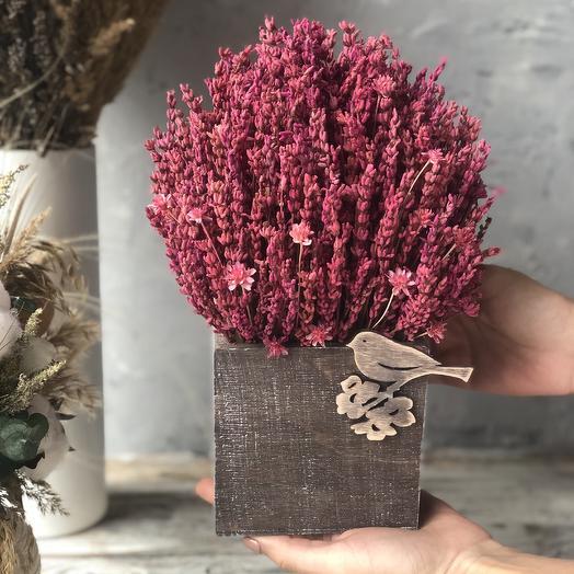 Интерьерный лавандовый куст в деревянном кашпо: букеты цветов на заказ Flowwow