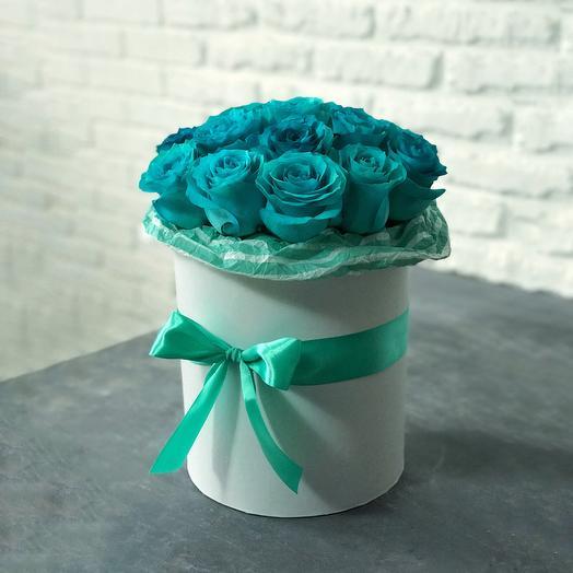 Средняя коробочка с розами Аквамарин
