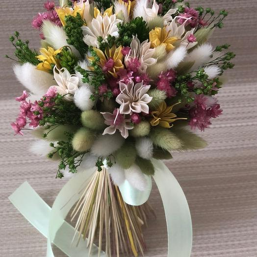 Букетик-сухоцветик с лагурусом и нигеллой