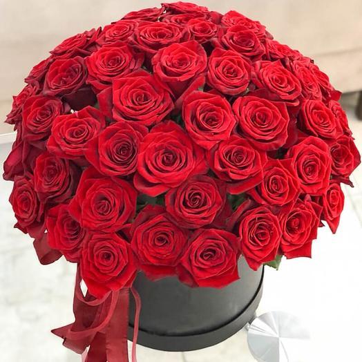 Черная коробка с 41 красной розой