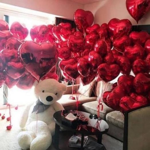Воздушные шары для любимой фольгированные сердца