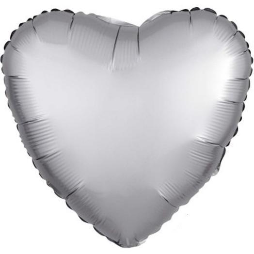 """Шар с гелием сердце 18""""/46 см серебристый"""