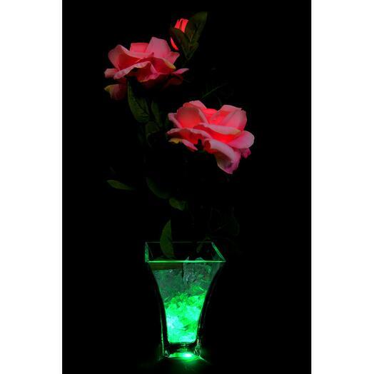 Светодиодные цветы Розы Розовые (зел) 3 цветка
