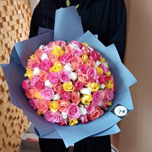 Букет 101 роза Кения микс