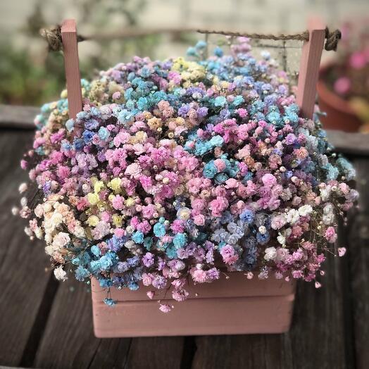 Цветы в деревянном ящике Заказ у моря