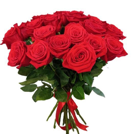 Bouquet of 21 large red Ecuadorian roses 50 cm