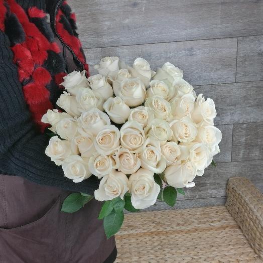 Букет из 35 белых роз 60 см: букеты цветов на заказ Flowwow