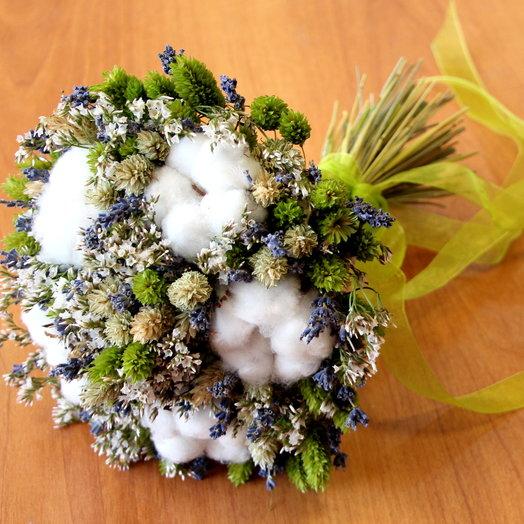 Букет из хлопка, лаванды и фалариса: букеты цветов на заказ Flowwow