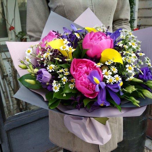 Букет с пионами и каллами: букеты цветов на заказ Flowwow
