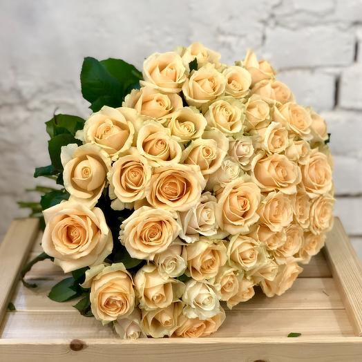 51 персиковая роза Пич Аваланж: букеты цветов на заказ Flowwow