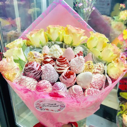 Клубничное настроение: букеты цветов на заказ Flowwow