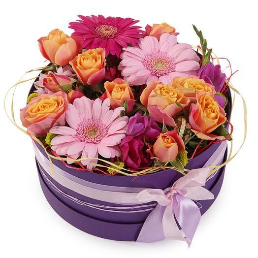 Букет Цветочная нимфа в коробке: букеты цветов на заказ Flowwow